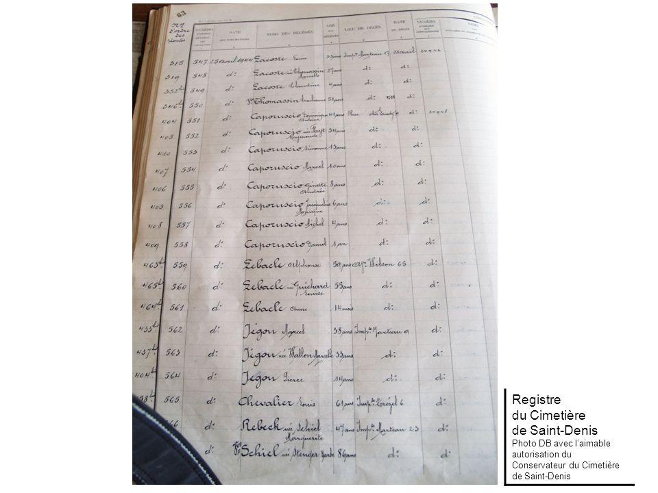 Registre du Cimetière de Saint-Denis