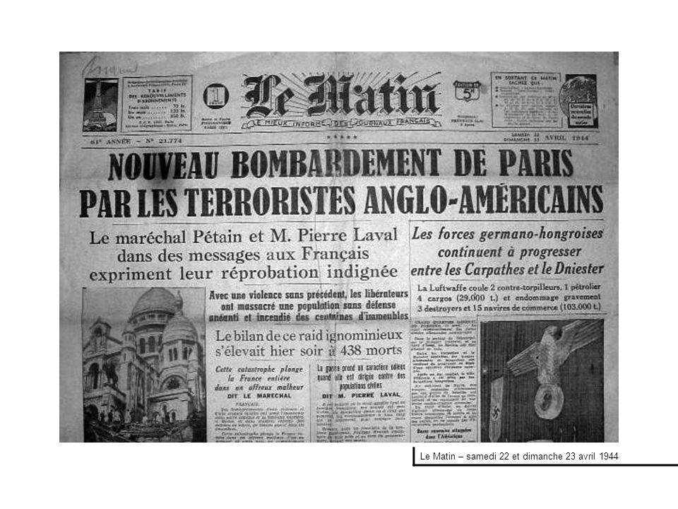 Le Matin – samedi 22 et dimanche 23 avril 1944