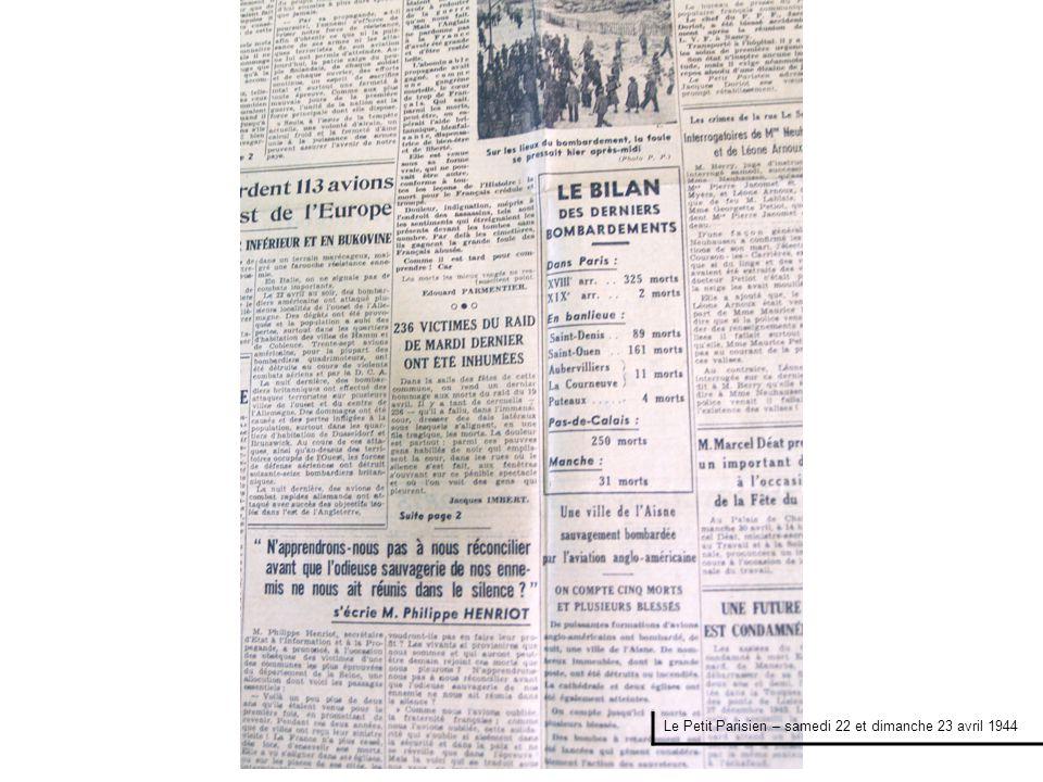 Le Petit Parisien – samedi 22 et dimanche 23 avril 1944