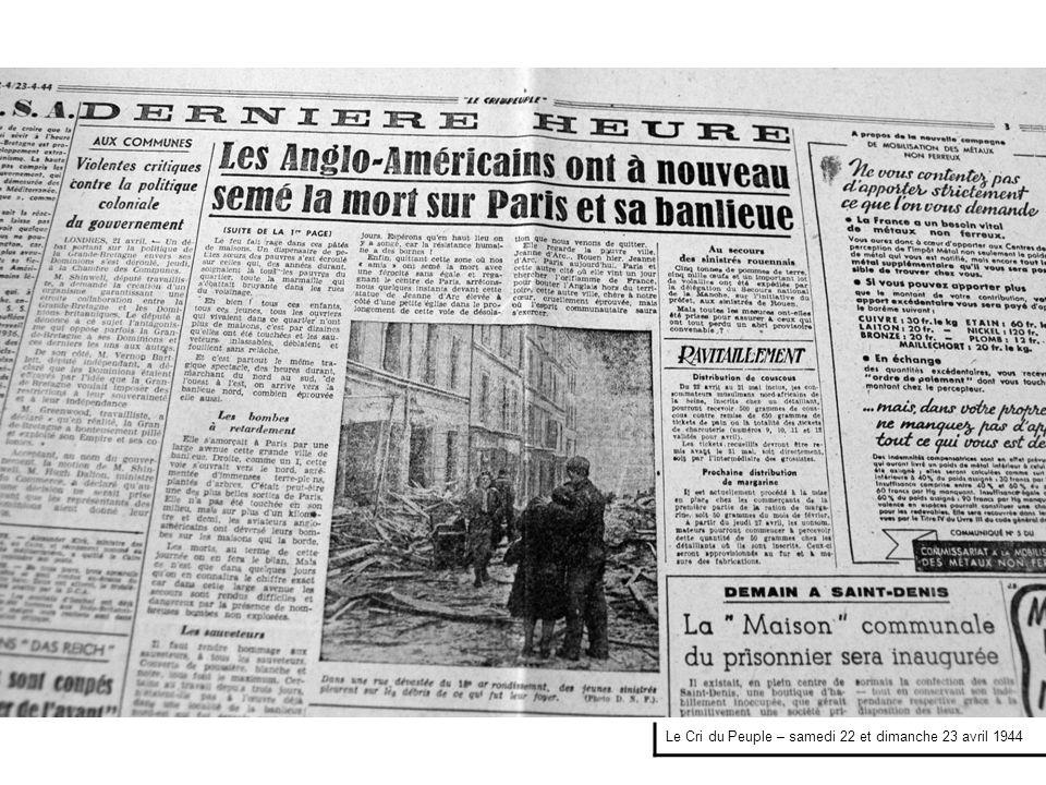 Le Cri du Peuple – samedi 22 et dimanche 23 avril 1944