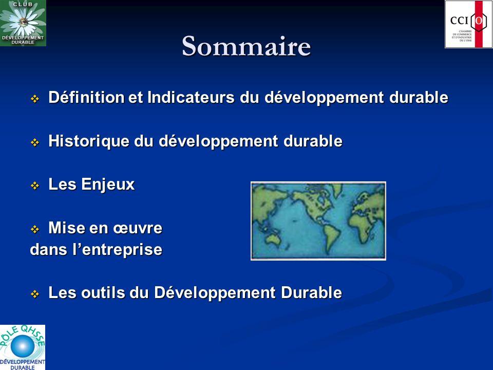 Sommaire Définition et Indicateurs du développement durable
