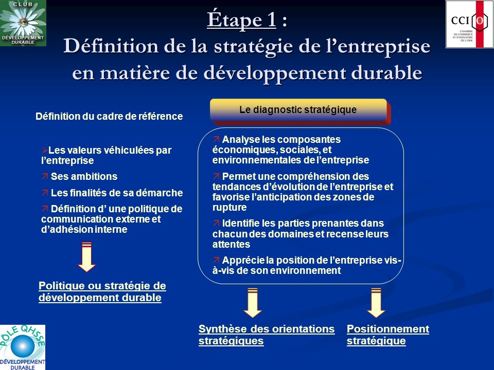 Le diagnostic stratégique Définition du cadre de référence