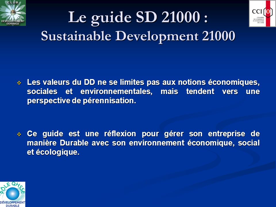 Le guide SD 21000 : Sustainable Development 21000