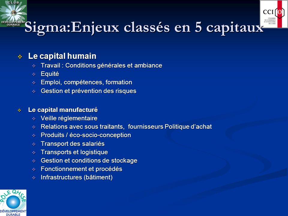 Sigma:Enjeux classés en 5 capitaux