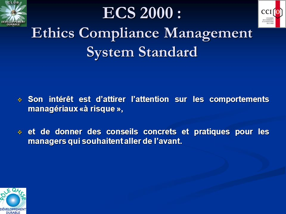 ECS 2000 : Ethics Compliance Management System Standard