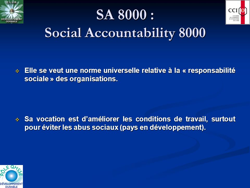 SA 8000 : Social Accountability 8000