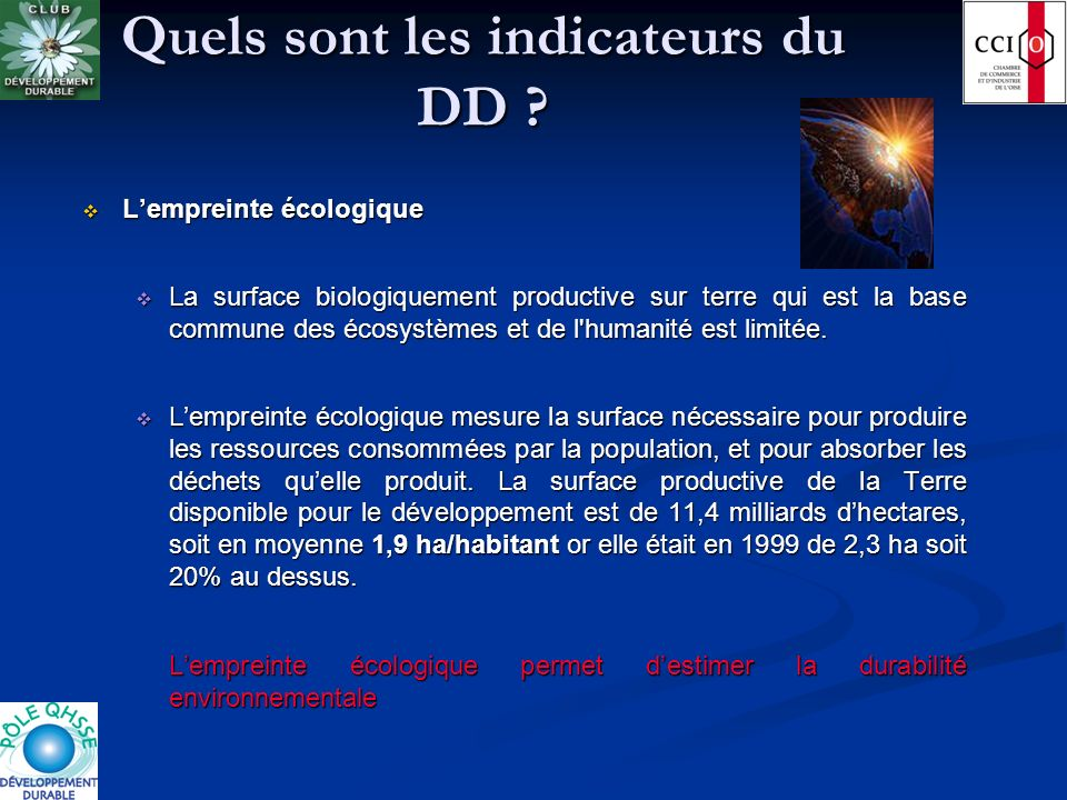 Quels sont les indicateurs du DD