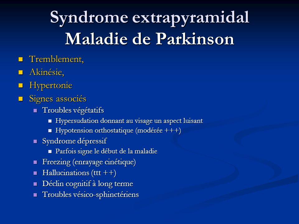 Syndrome extrapyramidal Maladie de Parkinson