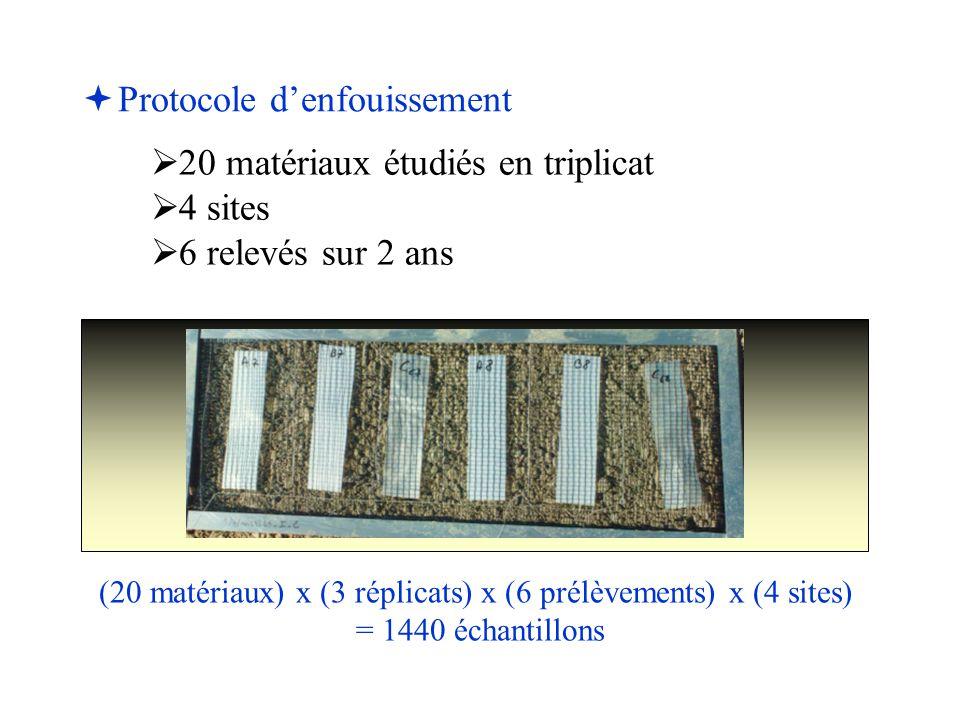 (20 matériaux) x (3 réplicats) x (6 prélèvements) x (4 sites)
