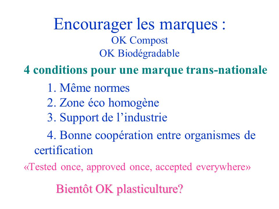 Encourager les marques : OK Compost OK Biodégradable