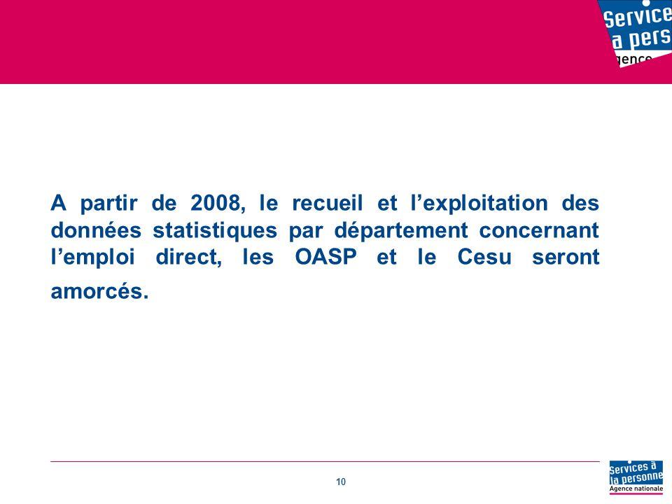 A partir de 2008, le recueil et l'exploitation des données statistiques par département concernant l'emploi direct, les OASP et le Cesu seront amorcés.