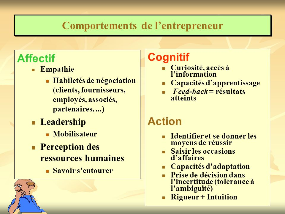 Comportements de l'entrepreneur