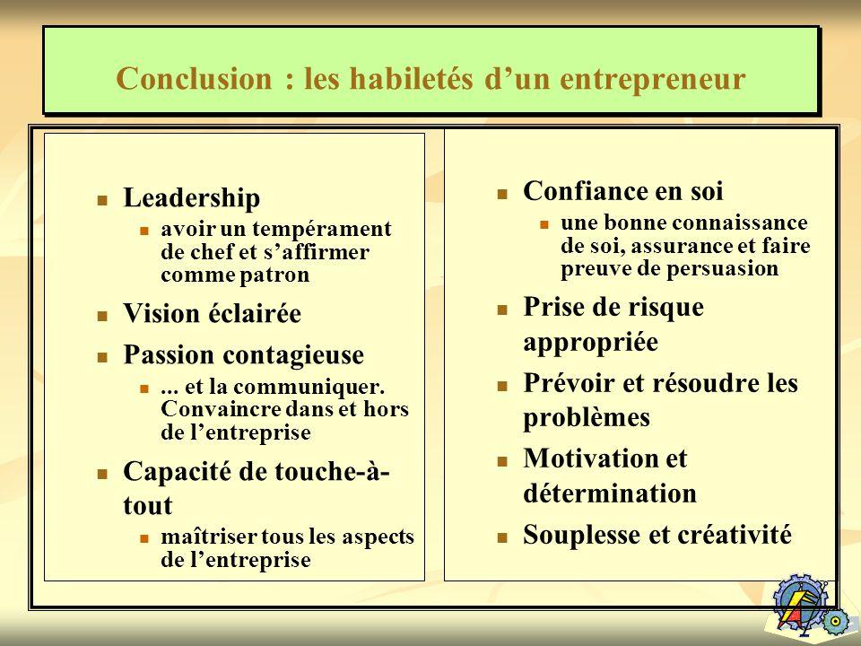 Conclusion : les habiletés d'un entrepreneur