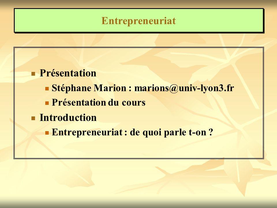 Entrepreneuriat Présentation Introduction