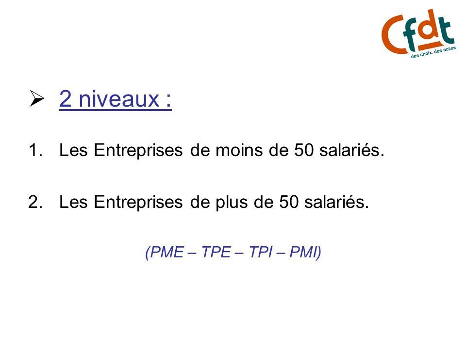 2 niveaux : Les Entreprises de moins de 50 salariés.