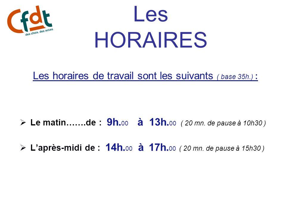 Les horaires de travail sont les suivants ( base 35h.) :