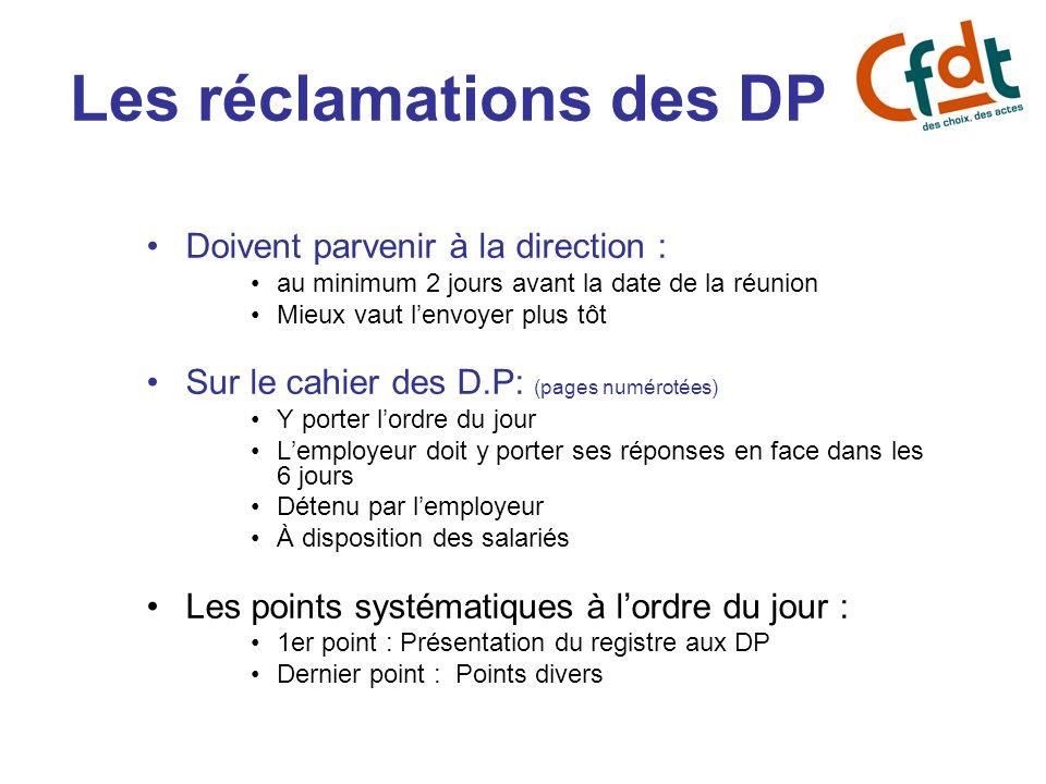 Les réclamations des DP