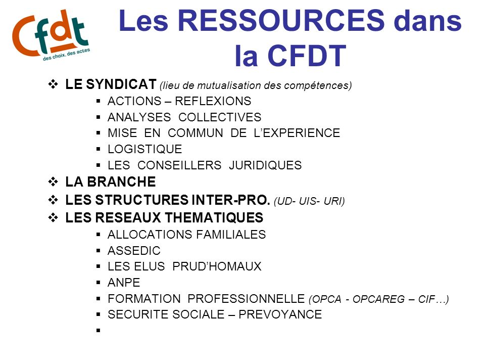 Les RESSOURCES dans la CFDT