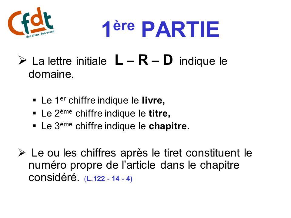 1ère PARTIE La lettre initiale L – R – D indique le domaine.