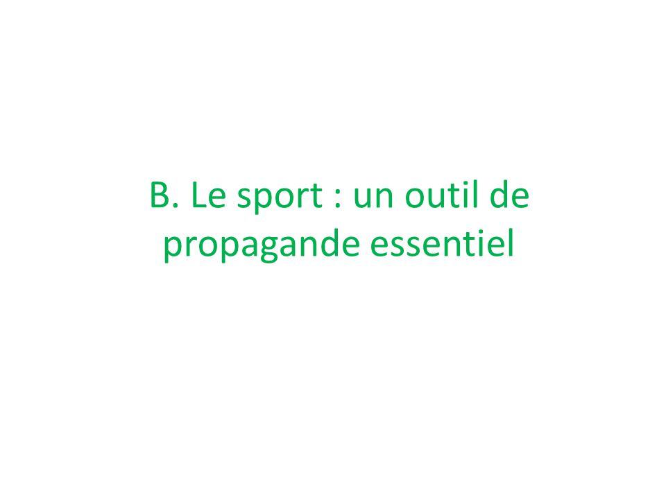 B. Le sport : un outil de propagande essentiel