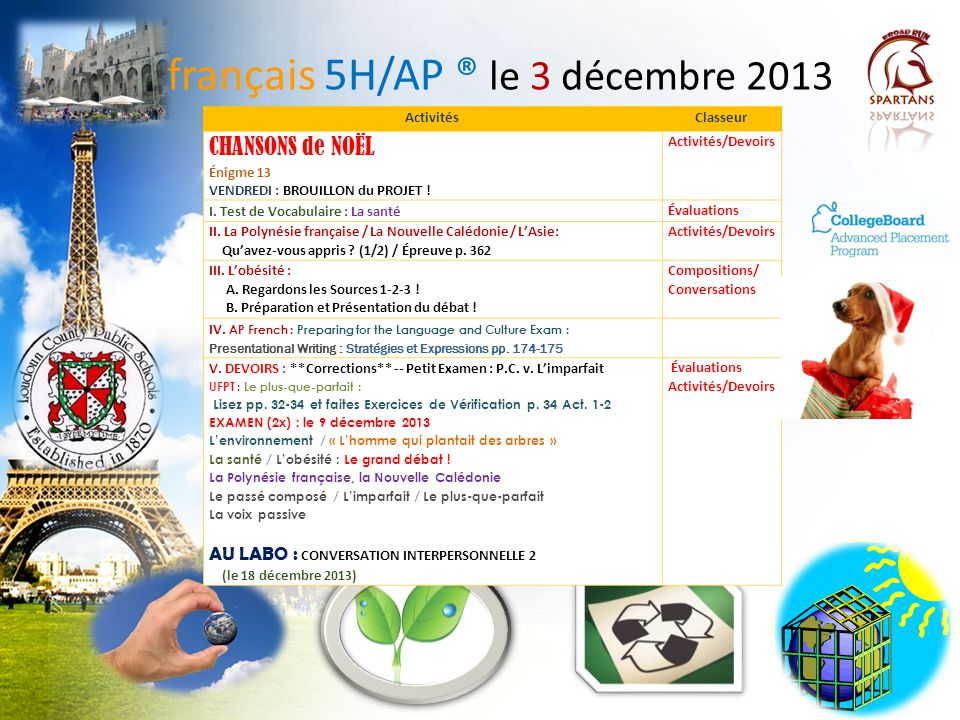 français 5H/AP ® le 3 décembre 2013