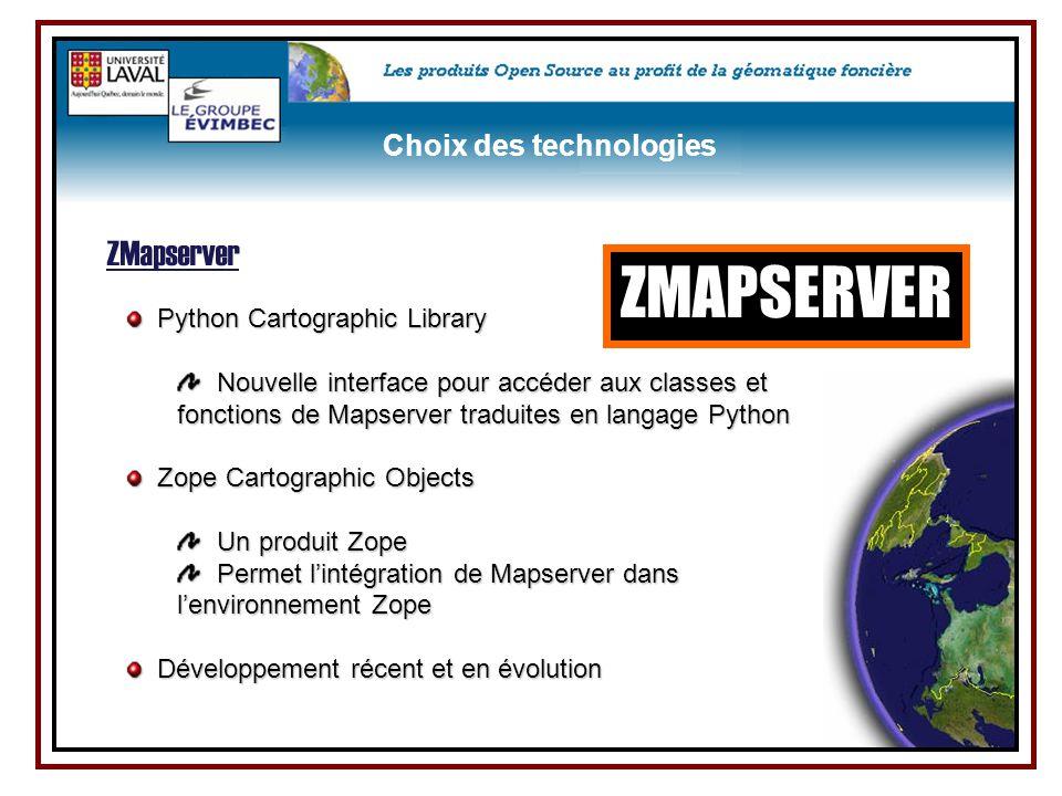 ZMAPSERVER ZMapserver Choix des technologies