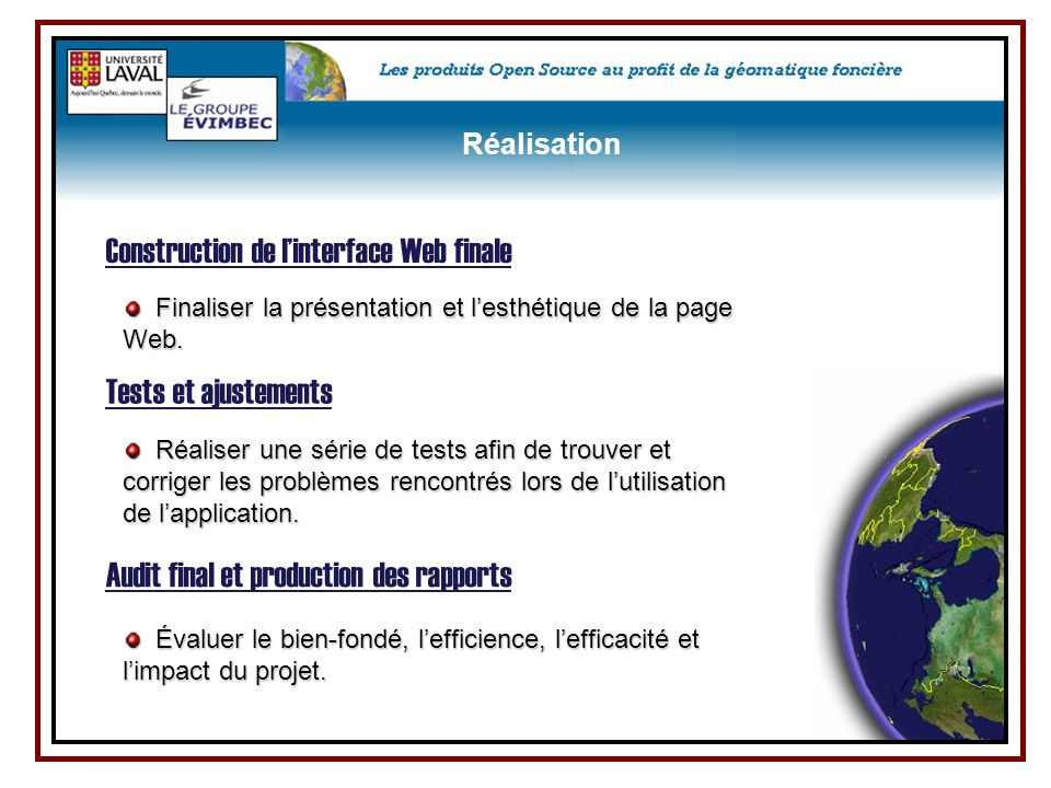 Construction de l'interface Web finale