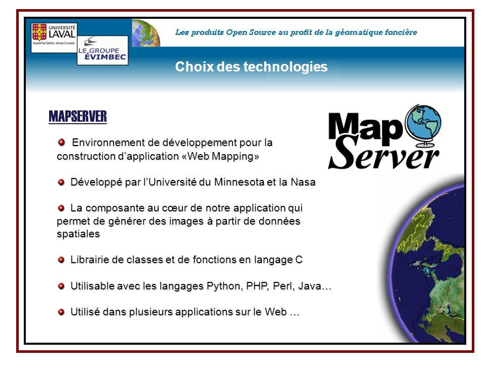 MAPSERVER Choix des technologies