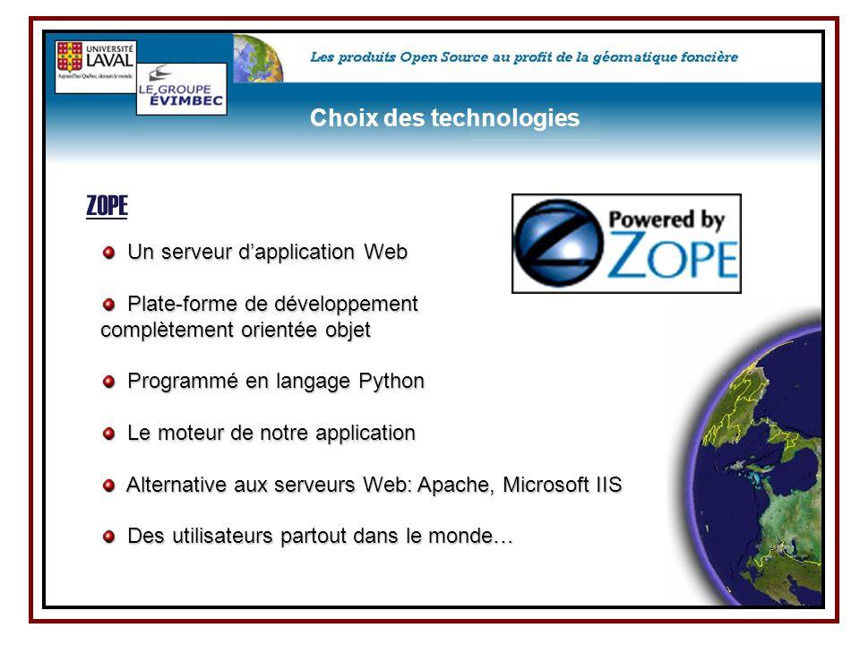 ZOPE Choix des technologies Un serveur d'application Web