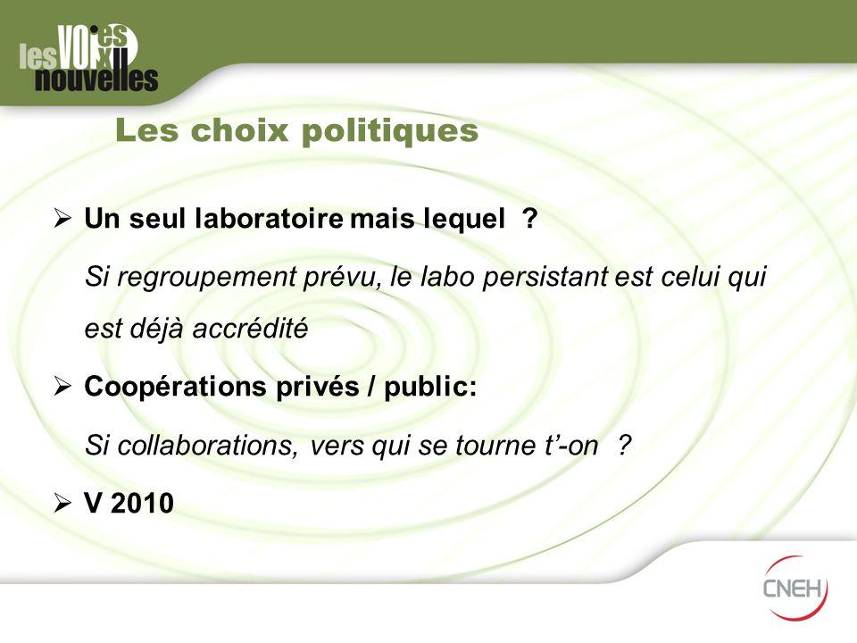 Les choix politiques Un seul laboratoire mais lequel