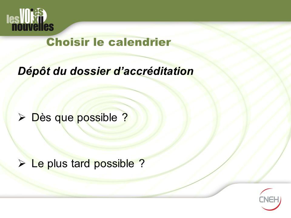 Choisir le calendrier Dépôt du dossier d'accréditation Dès que possible Le plus tard possible