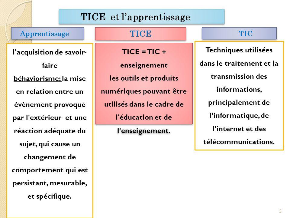 l acquisition de savoir-faire TICE = TIC + enseignement