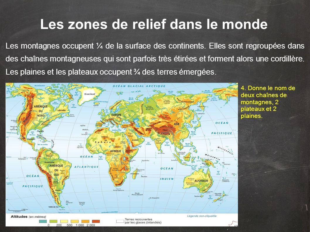 Les zones de relief dans le monde