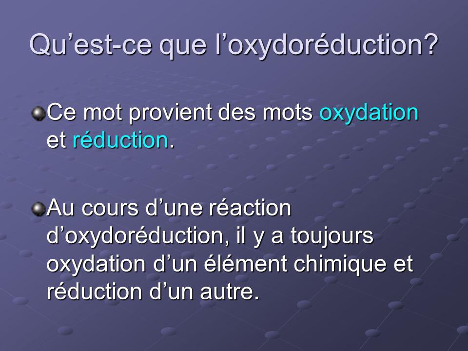 Qu'est-ce que l'oxydoréduction