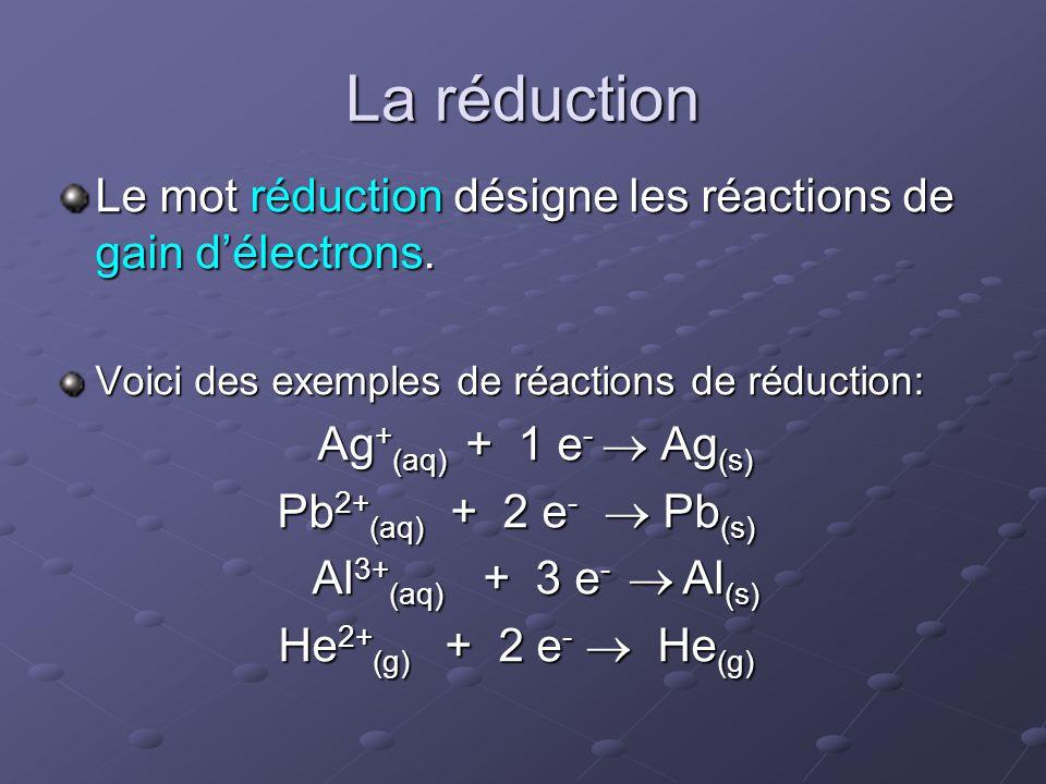 La réduction Le mot réduction désigne les réactions de gain d'électrons. Voici des exemples de réactions de réduction: