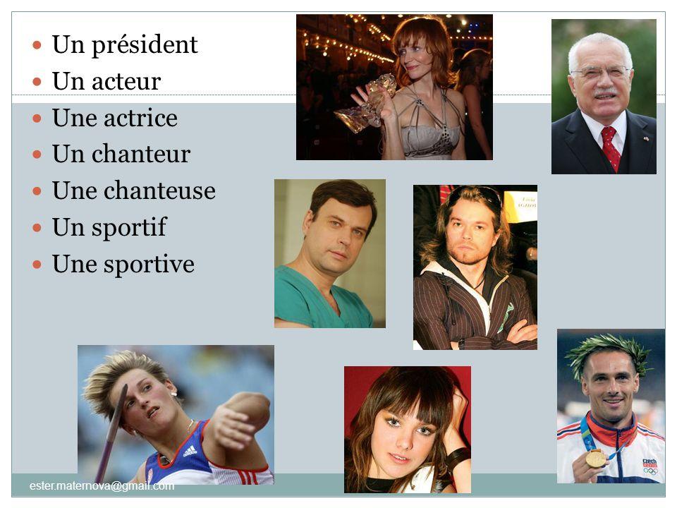 Un président Un acteur Une actrice Un chanteur Une chanteuse