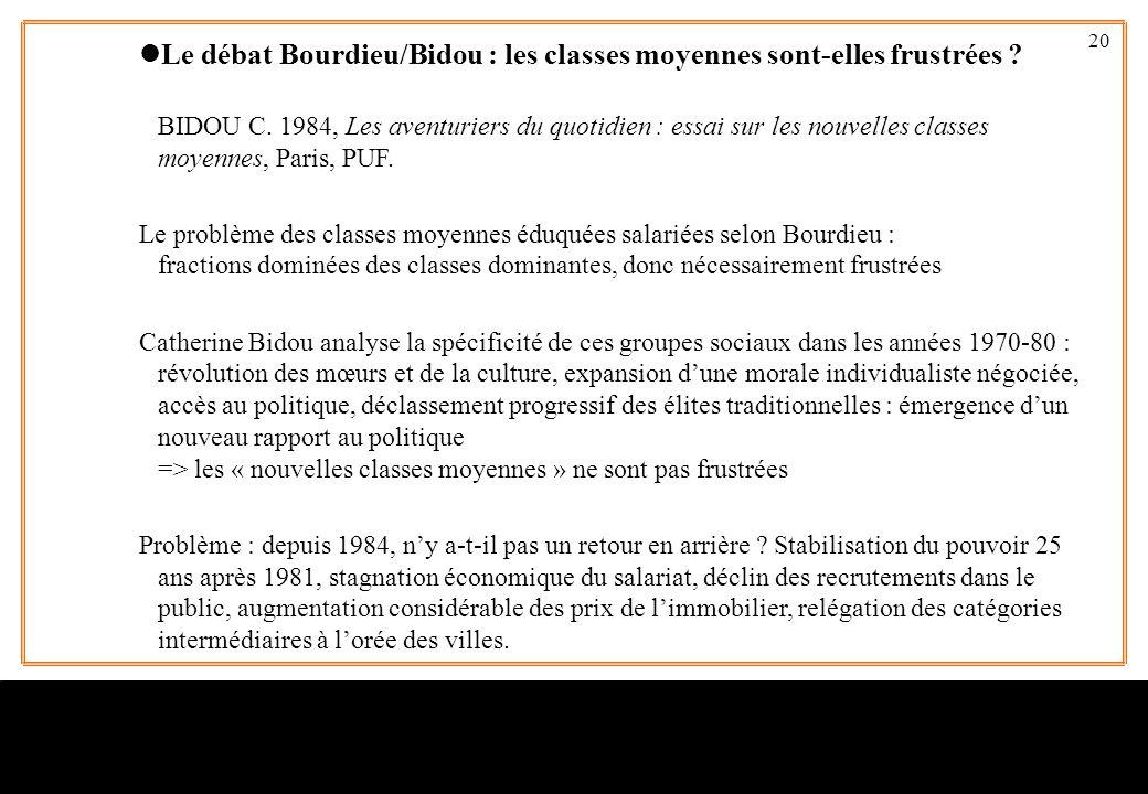 Le débat Bourdieu/Bidou : les classes moyennes sont-elles frustrées