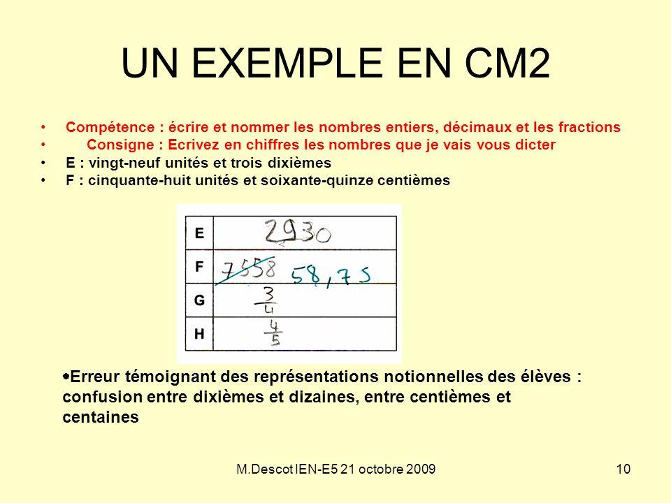 UN EXEMPLE EN CM2 Compétence : écrire et nommer les nombres entiers, décimaux et les fractions.