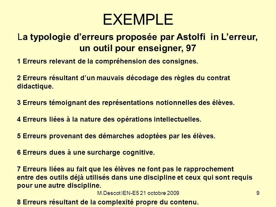 EXEMPLE La typologie d'erreurs proposée par Astolfi in L'erreur, un outil pour enseigner, 97. 1 Erreurs relevant de la compréhension des consignes.