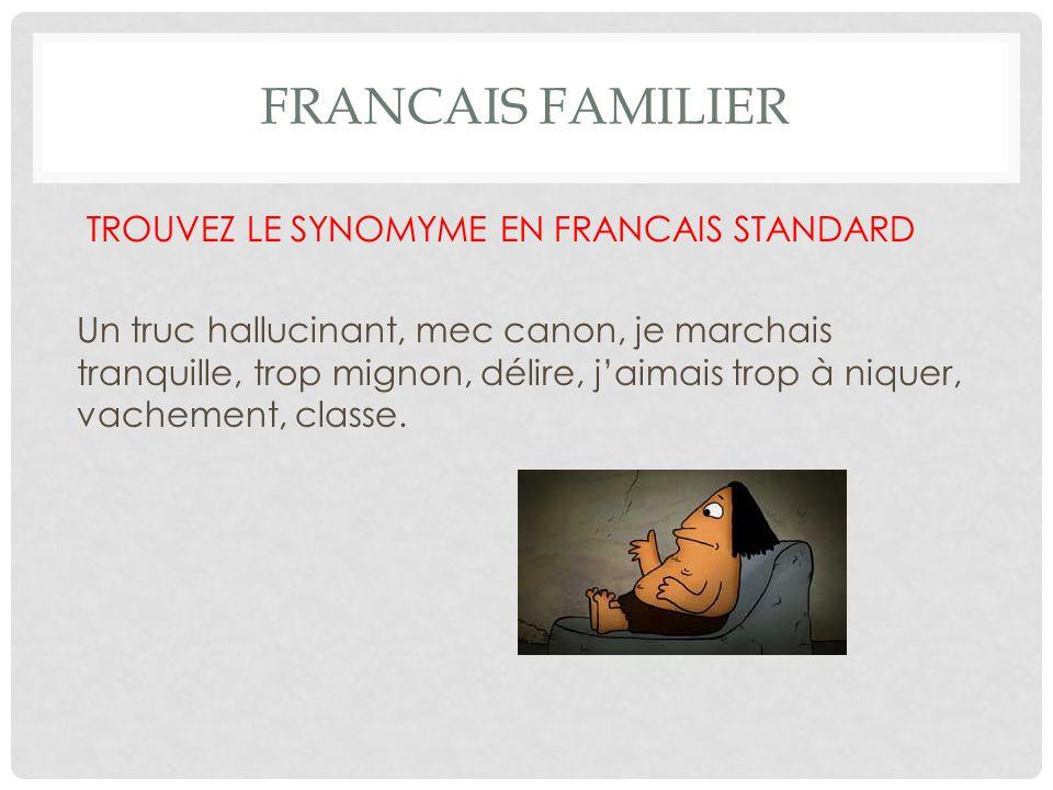 FRANCAIS FAMILIER TROUVEZ LE SYNOMYME EN FRANCAIS STANDARD