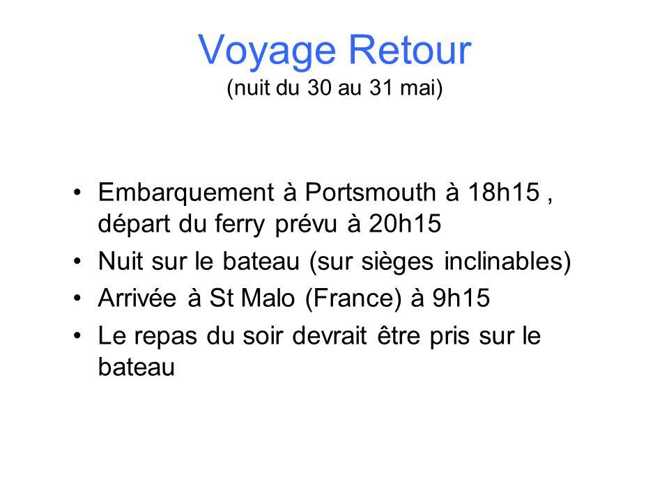 Voyage Retour (nuit du 30 au 31 mai)