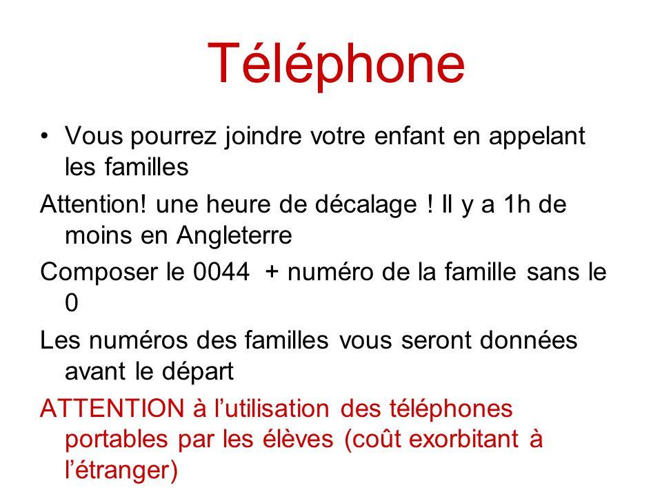 Téléphone Vous pourrez joindre votre enfant en appelant les familles