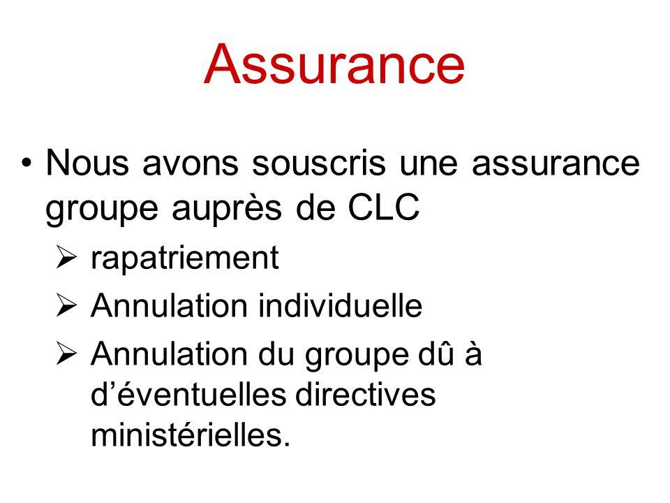 Assurance Nous avons souscris une assurance groupe auprès de CLC