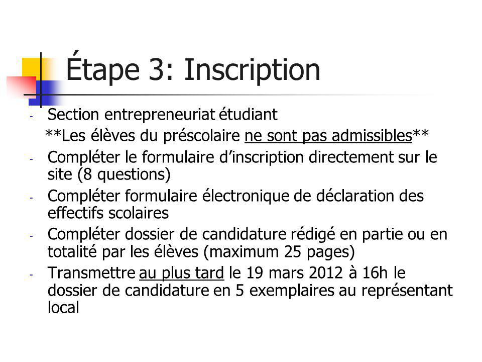 Étape 3: Inscription Section entrepreneuriat étudiant