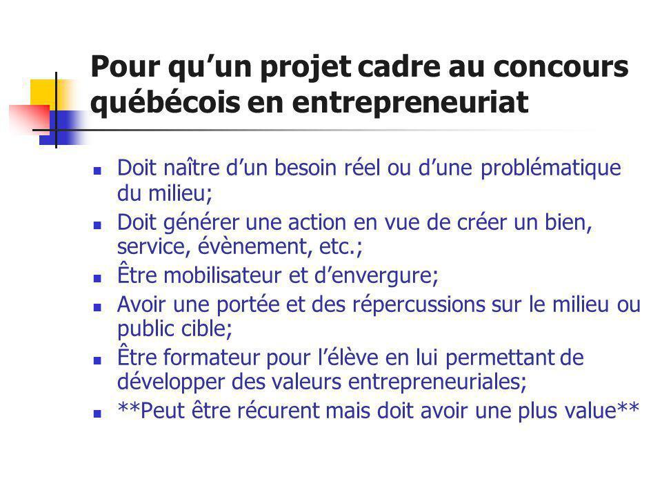Pour qu'un projet cadre au concours québécois en entrepreneuriat