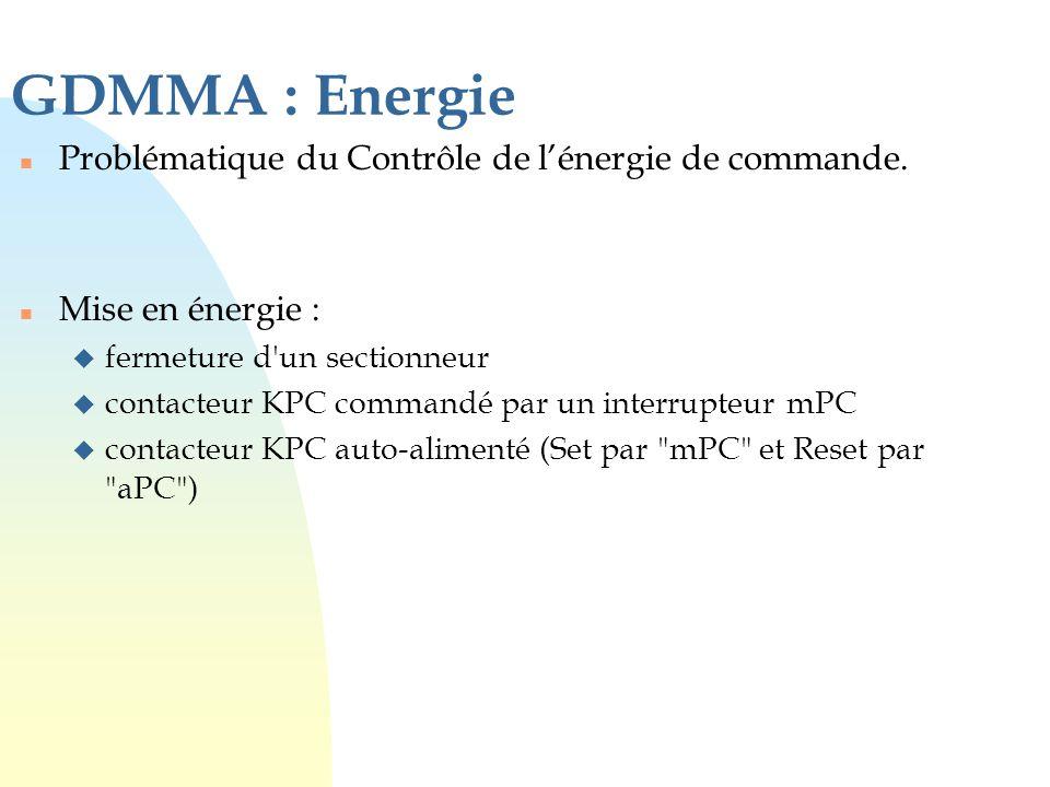 GDMMA : Energie Problématique du Contrôle de l'énergie de commande.