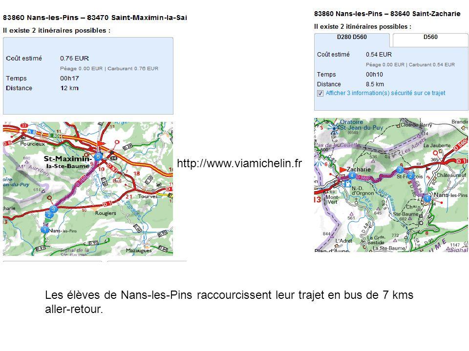 http://www.viamichelin.fr Les élèves de Nans-les-Pins raccourcissent leur trajet en bus de 7 kms aller-retour.