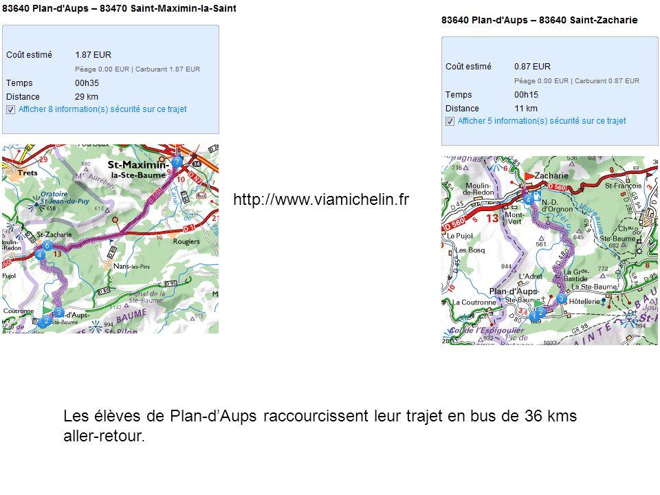http://www.viamichelin.frLes élèves de Plan-d'Aups raccourcissent leur trajet en bus de 36 kms aller-retour.