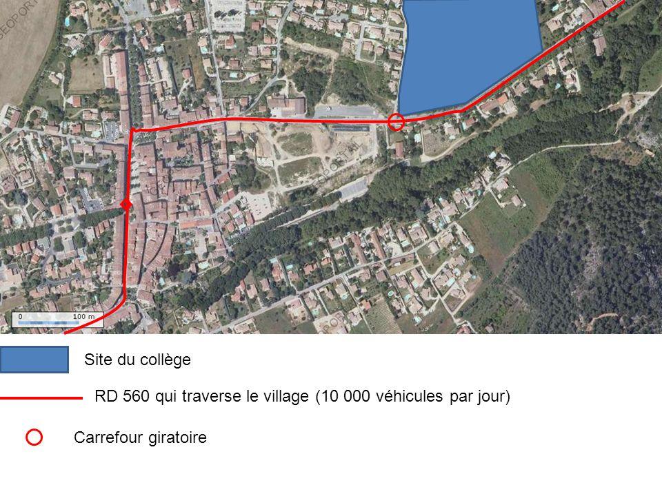 RD 560 qui traverse le village (10 000 véhicules par jour)