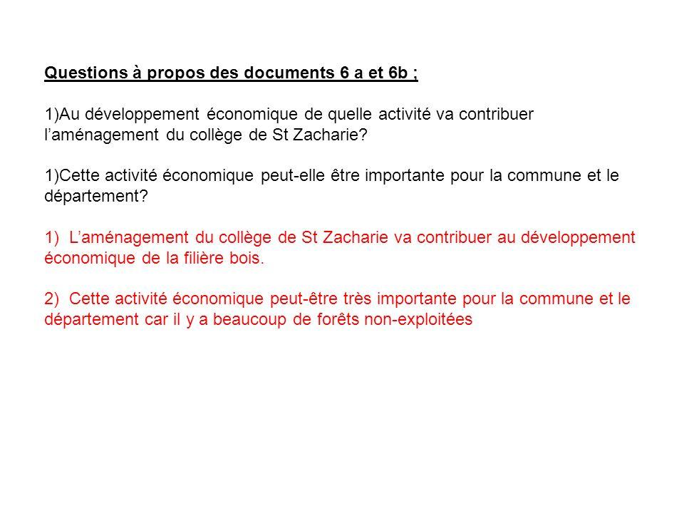 Questions à propos des documents 6 a et 6b ;